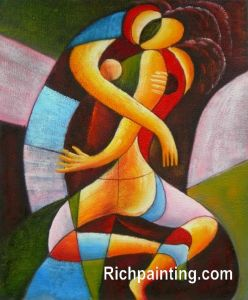 Abstract Oil Painting Kiss on Canvas