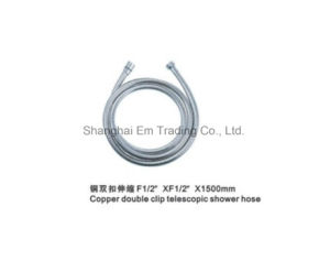 Copper Double Clip Telescopic Shower Hose Bathroom Fitting pictures & photos