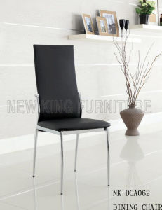 Modern High Back Stainless Steel Leather Dining Room Chair (NK-DCA062)