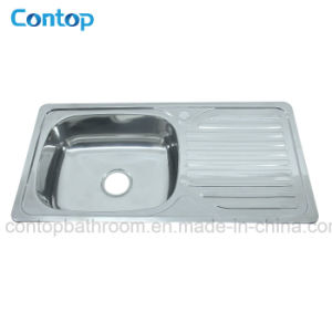 Stainless Steel Kitchen Ware Topmount Polish Single Bowl Kitchen Sink with Drainer pictures & photos