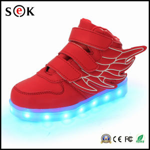 Chinese Kids Games Shoes Light Angel Wing LED Shoes pictures & photos