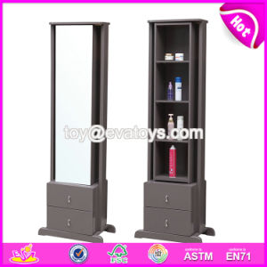 Wholesale Cheap Wooden Full Length Standing Mirror with Cabinet W08h086 pictures & photos