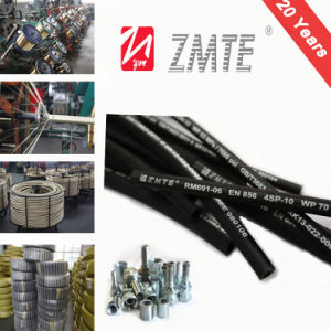 Ce Certified Black/Blue/Red Steel Braided Rubber Hose for Hydraulic pictures & photos