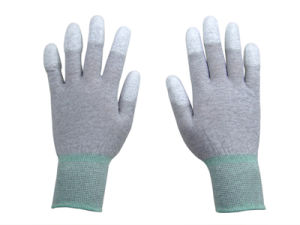 ESD Carbon Nylon PU Glove pictures & photos