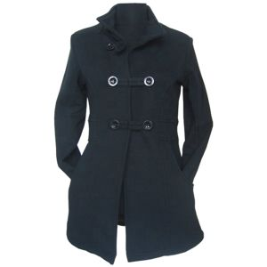 Coats and Jackets Women, Lady′s Black Long Coat