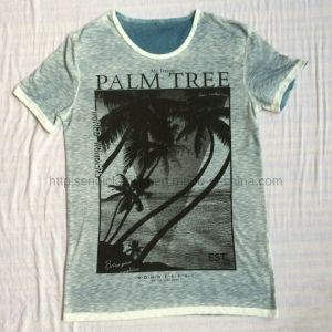 Summer Palm Printing Burnout T-Shirt in Man Sport Knitwear Clothes Fw-8671