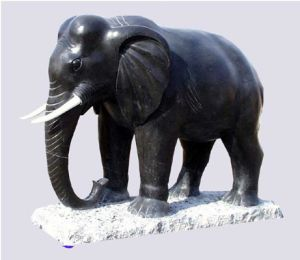 Thailand Type Black Marble Elephant Statue
