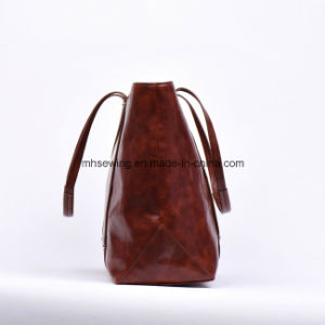 Elegant Oil Wax Genuine Leather Tote Bag for Women pictures & photos