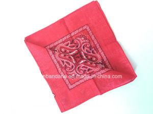 China Factory Produce Custom Red Paisley Cotton Square Bandana Headband pictures & photos