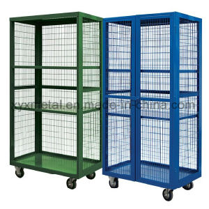 Warehouse Equipment Movable Metal Wire Mesh Roll Storage Cage pictures & photos