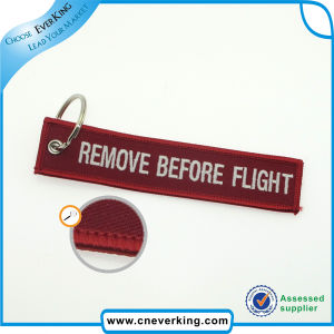 Custom Remove Before Fliaght Embroidery Key Chains pictures & photos