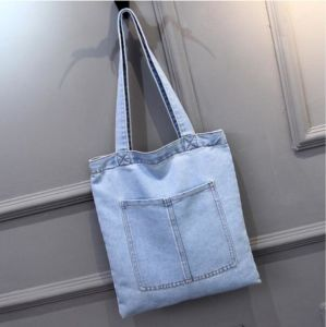Popular Blue Cloth Denim Fabric Tote Shoulder Hand Bag Handbags pictures & photos