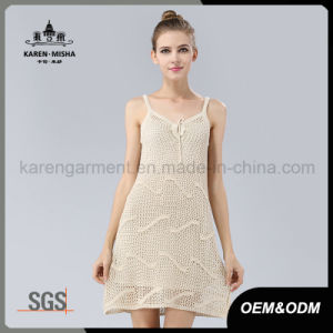 Karen Girls Crocheted Sun White Sweater Dress pictures & photos