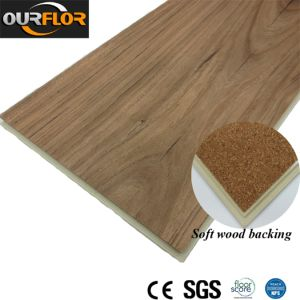 PVC WPC Vinyl Flooring Planks with Film Attachment on Backing/ Further Soundproof Flooring Stripes/ Vinyl Floor Tiles with EVA / Soft Wood Film Attachment pictures & photos