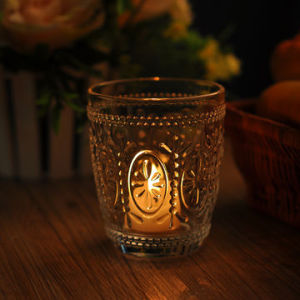 Round Shaped Clear Candle Holder with Bohemia Embossed Pattern pictures & photos