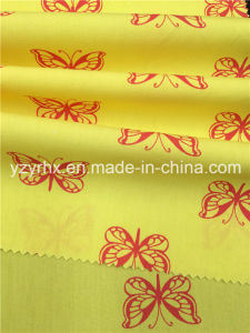 Finished Fabric 100% Cotton Poplin Peach Printed Yellow Fabric Red Butterfly pictures & photos