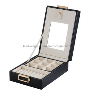 Leather Black Double Layer Internal Mirror Travel Jewelry Box pictures & photos