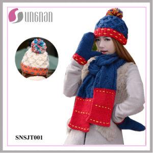 2015 Winter Warm Wool Hat Scarves Gloves Three-Piece Set (SNSJT001) pictures & photos