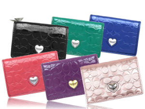 Lady Fashion Leather Colorful Name Card Holder with Metal Heart Design Decoration pictures & photos