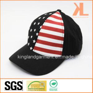100% Cotton Drill USA American Flag Black Baseball Cap pictures & photos