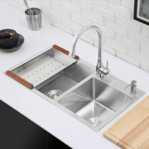 Kitchenware Stainless Steel Handmade Kitchen Double Bowl Sink (7842s) pictures & photos