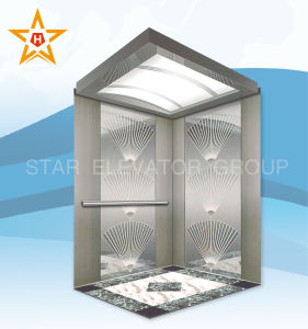 Commercial Passenger Lift with Etching & Mirror Stainless
