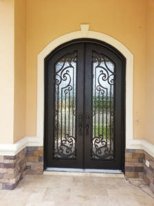 Classical Economical Handmade Wrought Iron Doors Double Entry Doors pictures & photos