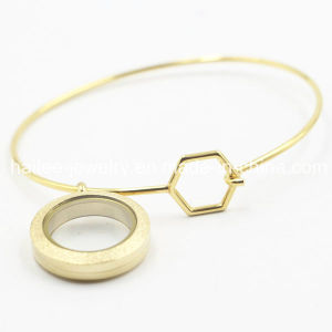 316L Stainless Steel Plating Gold Bangle with Locket pictures & photos
