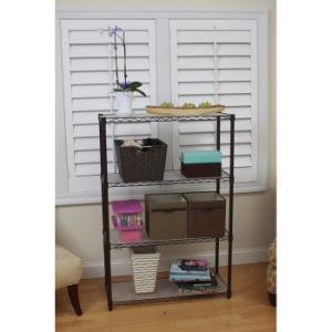 4 Tiers Epoxy Coated Metal Living Room Corner Wire Shelf Rack pictures & photos