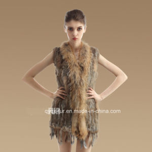Medium -Long Style Real Rabbit Fur Vest with Tassels pictures & photos