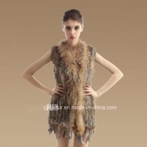 Medium -Long Style Real Rabbit Fur Vest with Tassels
