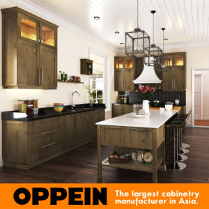 High Quality Classic Wood Grain Thermofoil Shaker Kitchen Cabinets (OP15-PP04) pictures & photos