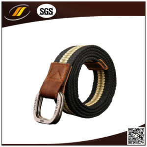 Double Ring Buckle Outdoor Man Waistband Handmade Waist Canvas Leather Belt (HJ15098) pictures & photos
