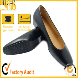 New Fashion Black Female Genuine Cow Leather Military Office Shoes pictures & photos