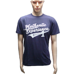 Dark Blue Custom Plain Cotton T-Shirt for Man pictures & photos