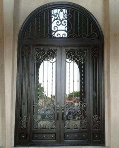 Fancy Exterior Entrance Door with Wrought Iron pictures & photos