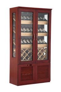 Double Door Vertical Wooden Red Wine Freezer Cabinet pictures & photos