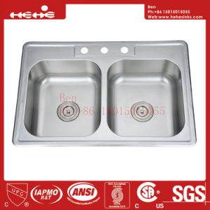 Stainless Steel Kitchen Sink, America Standard Drop in Sink, Stainless Steel Equal Double Bowl Top Mount Kitchen Sink pictures & photos