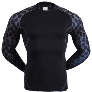 Men Athletic Wear Fitness Wear Compression Sports Shirt with Reflective Printing pictures & photos