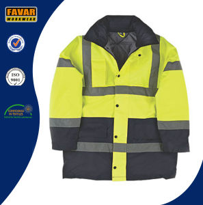 Hi-Vis Yellow / Navy Blue Padded 2 Tone Coat Workwear