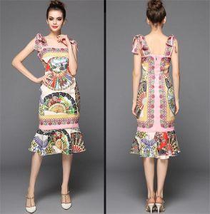 2015 Women′s Fashion Retro Print Butterfly Tube Top Straps Fishtail Slim Jumpsuit Dress pictures & photos