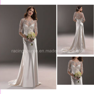 Elegant Satin Short Sleeve Embroidary Wedding Gown Bridal Wedding Dress pictures & photos