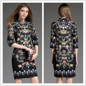 China Supplier OEM 2015 Latest Winter Fashion Stand Collar Women Slim Bodycon Dress pictures & photos
