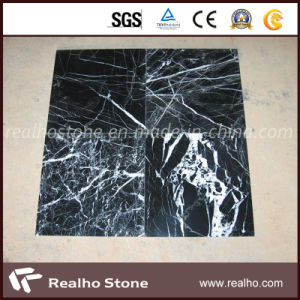 Cheap Price China Black Nero Marquina Marble Tile with White Veins pictures & photos