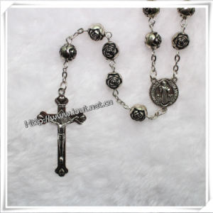 Plastic Rose Carved Bead Rosary (IO-cr042) pictures & photos