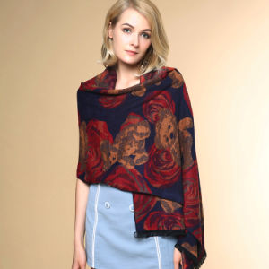 Lady Fashion Flower Bear Jacquard Acrylic Knitted Winter Shawl (YKY4516) pictures & photos