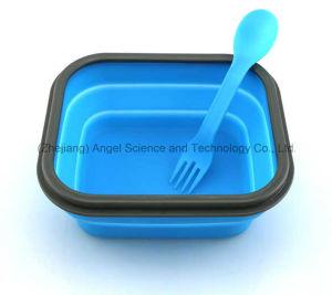 100% Food Grade Square Silicone Bento Box Silicone Rubber Lunch Box 800ml pictures & photos