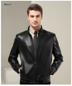 Plus Size 2015 Fashion Black Men Tight Genuine Leather Jacket pictures & photos