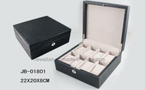 Handmade Black PU Leather Promotional Storage Wooden Watch Box pictures & photos