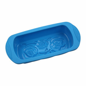 Blue Non-Stick FDA/LFGB Silicone Loaf Pan with Handles pictures & photos